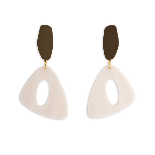 MOOII Geometric White  Block Earrings