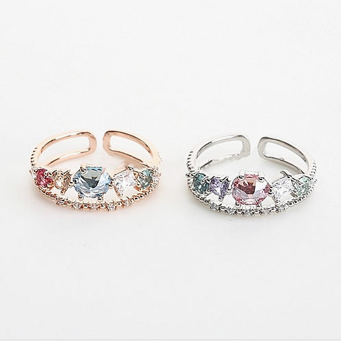 Ruby & Sapphire Stone Adjustable Ring
