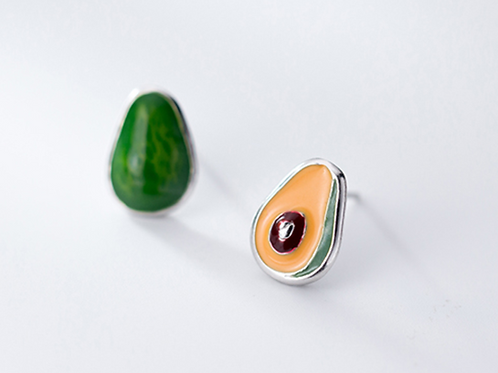 Asymmetric Avocado Back and Front 925 Silver Ear Studs - Mooii