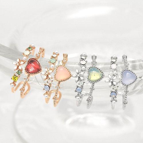Double Line Love Heart Flower Ring - MOOII