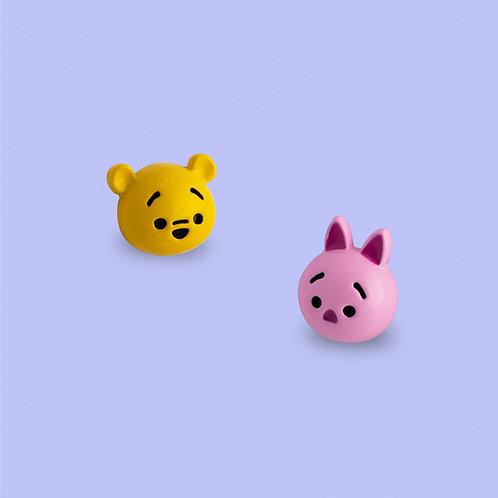 MOOII Disney Ear-Stud Winnie and Piglet round