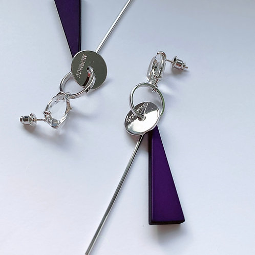CZ Dark Purple and Silver Bar Earrings - MOOII