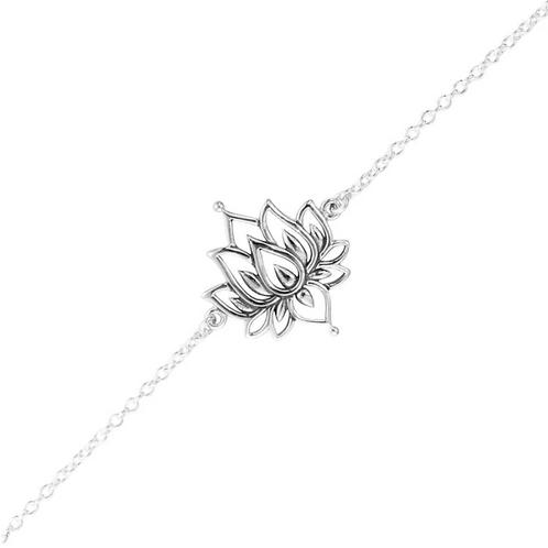 White Lotus Sterling Silver Bracelet