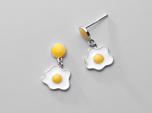 Sterling Silver Sunny Side Up Geometric Earrings - Mooii