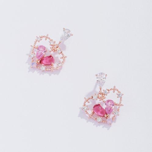 Heart Shape Pink and Purple Crystal Earrings - MOOII