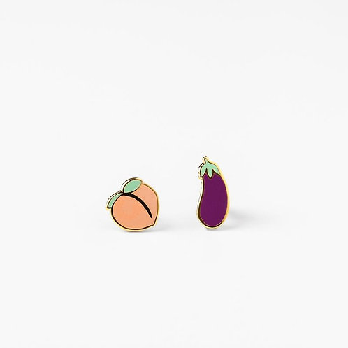 Yellow Owl Peach & Eggplant Earrings