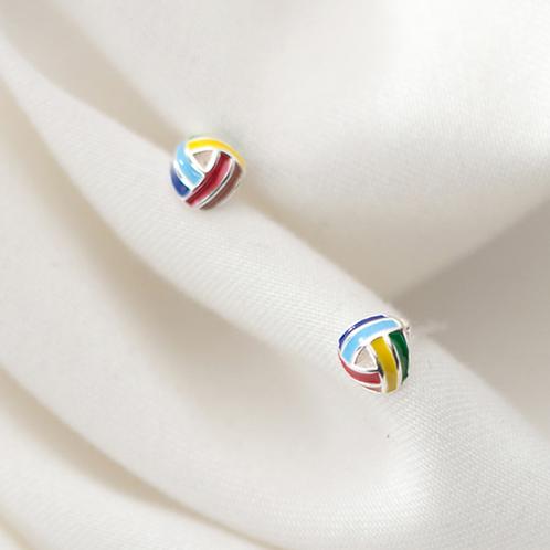 Enamel Rainbow Color Knot 925 Studs - Mooii