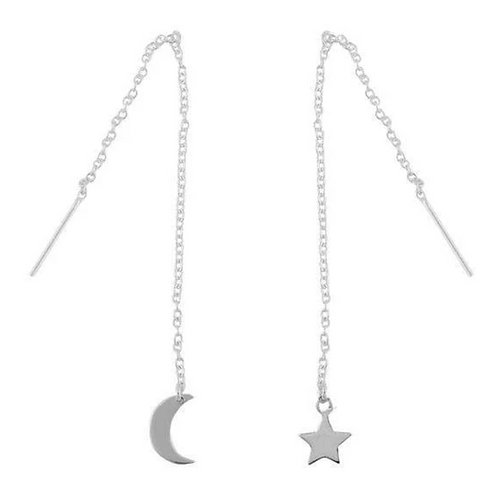 Luna and Star Galaxy Sterling Silver Threaders Earrings - MOOII
