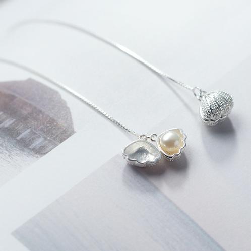 Shell Pearl Threader Earring - Mooii