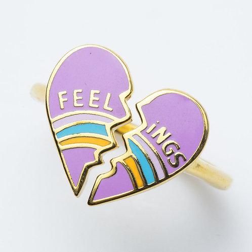 Yellow Owl Heart Broken Feeling Ring