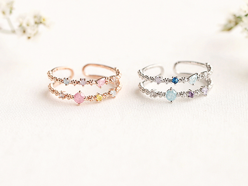 Double Line Adjustable Ring - MOOII