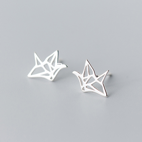 Paper Cranes Sterling Silver Ear Studs