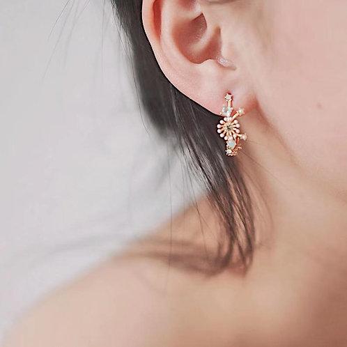 MOOII Multi- Coloured Crystal Earring Hoop