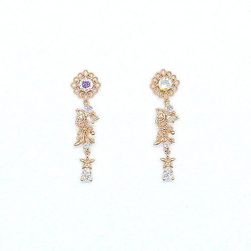 Moonstone Hollow Out Flower Earring - MOOII