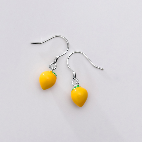 Sterling Silver  Lemon Hoop Earrings  - MOOII