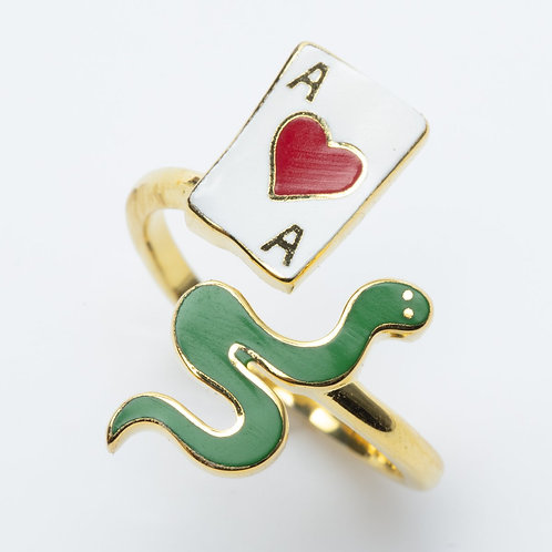 Yellow Owl Ace of Hearts& Snake Ring