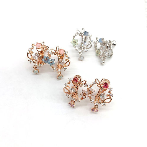 Mooii Floral Crystal Wreath Clip On Earrings