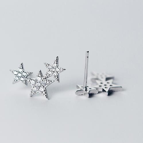 Triple Twinkle Star Micro-Inlay Sterling Silver Earrings
