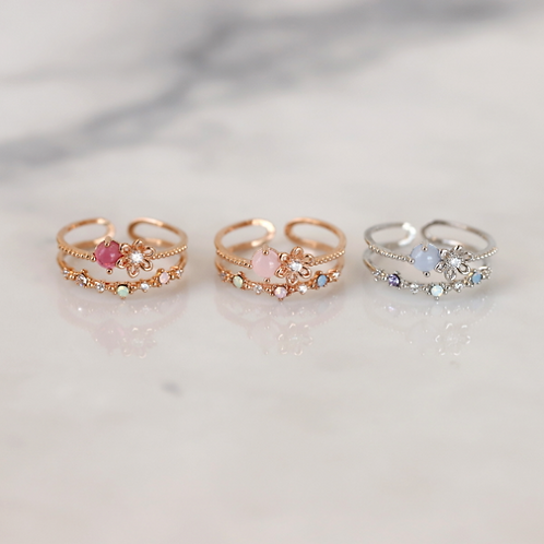 MOOII Micro Round Crystal Double Layer Rings