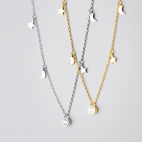 CZ Star and Moon Choker Necklace - MOOII