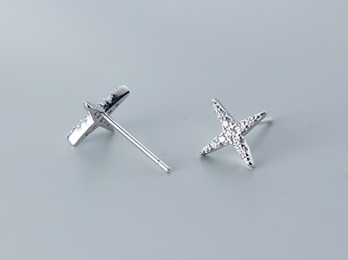All Silver Micro-Inlay Ear-Stud