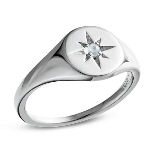 Enchanted Light Moonstone Signet Sterling Silver Ring