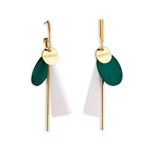 Geometric White Block and White Bar Earrings - MOOII