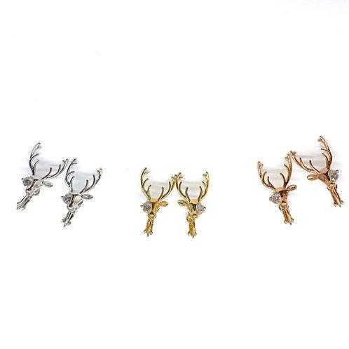 Mooii Deer with Crystal Clip On Earrings