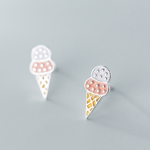 Ice Cream Cones Sterling Silver Ear Studs - MOOII