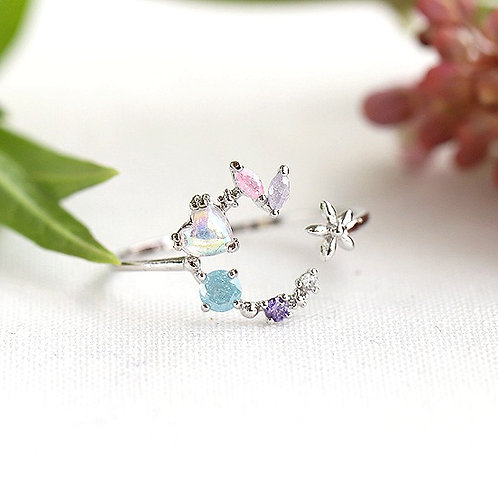Crescent Moon Small Crystal Ring