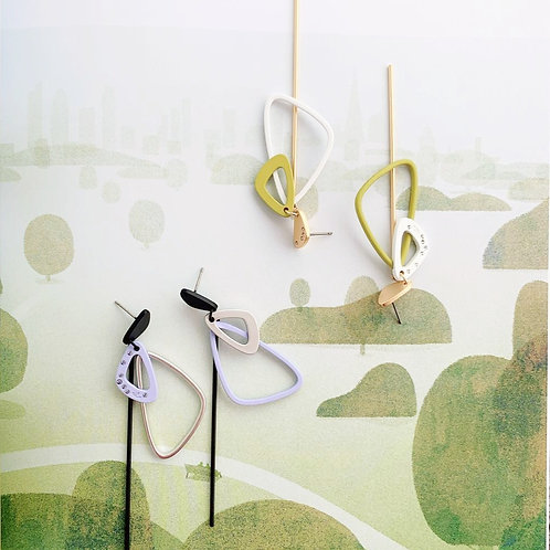 Geometric Dual Color Asymmetric Earrings - MOOII