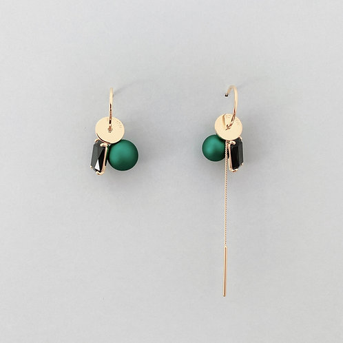 Black CZ with Green Ball Asymmetric Earring - MOOII
