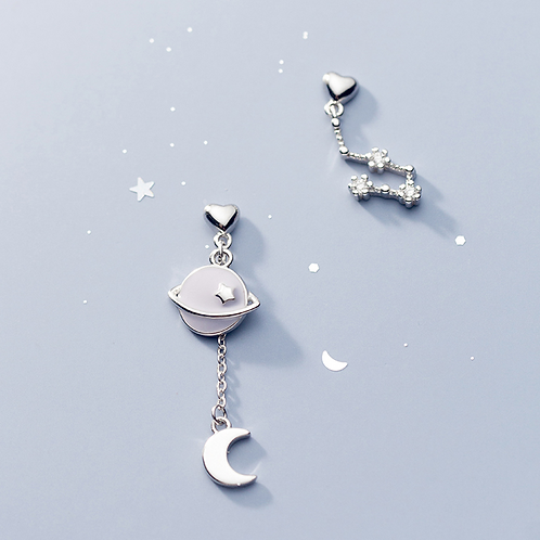 Asymmetric Luna and Star Earrings - Mooii