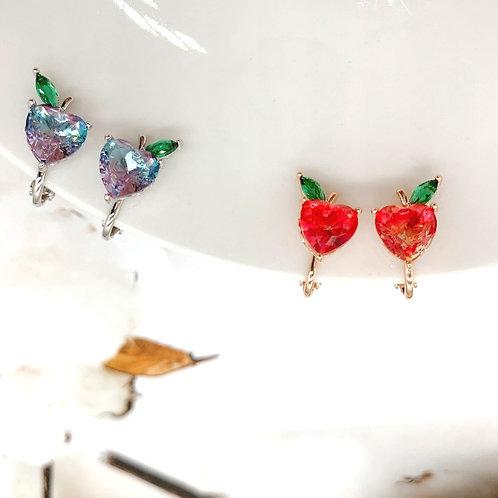 Mooii Apple-Shaped Crystal Clip On Earrings