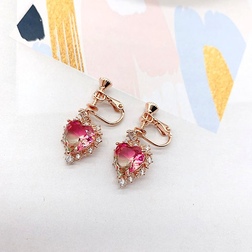 Mooii Heart-Shaped Crystal Clip On Earrings