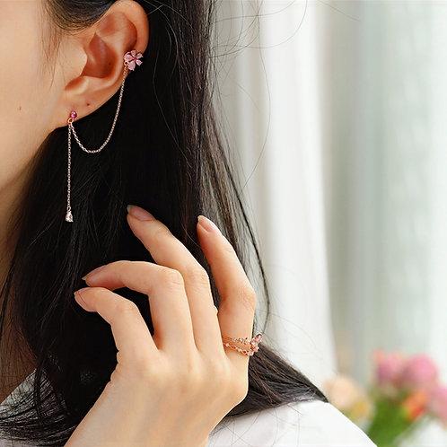 Single Cubic Zirconia Flower Dangle and Cuff Earrings  Hook - MOOII