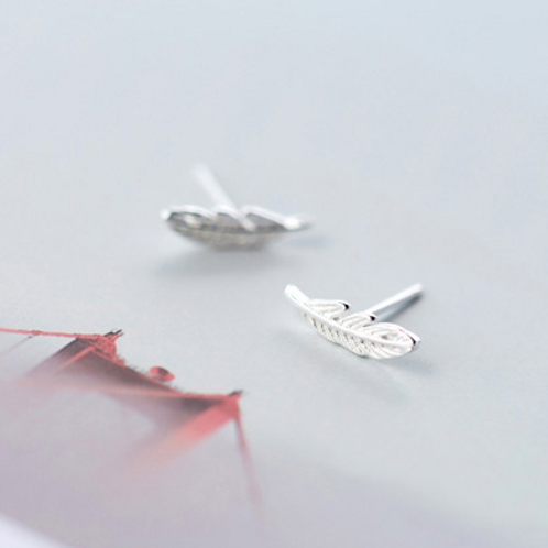 Feather Sterling Silver Ear Studs - MOOII