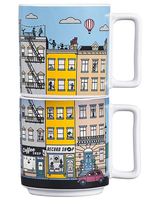 Heat Sensitive Changing Stacking Mugs Set -City Ceramic Novelty