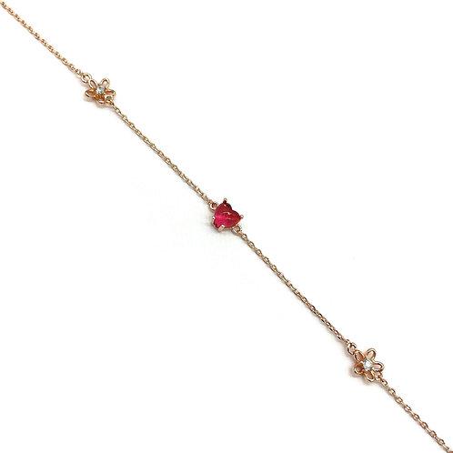Dainty Heart Gemstone Bracelet - MOOII