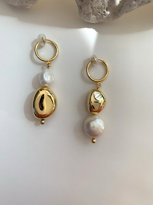 Golden Stone and Pearl Clip On Earrings