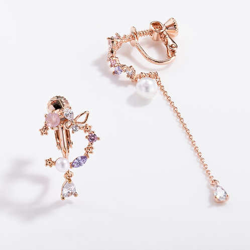 Summer Blossoming Asymmetric Clip on Earring