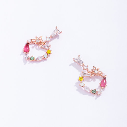 MOOII Multi-Crystal Heart-Shaped Dangle Earring