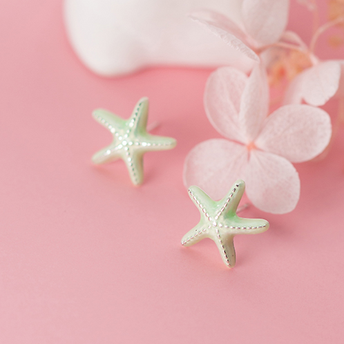 All Silver Star Fish Earring
