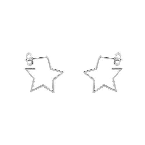 Sterling Silver Dainty Open Star Hoops