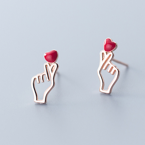 Finger heart Love You Gesture 925 Silver Ear Studs - Mooii