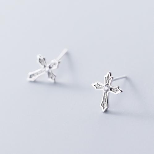 Crystal Silver Cross Sterling Silver Ear Studs
