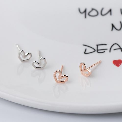 Little Sweet Heart Sterling Silver Ear Studs