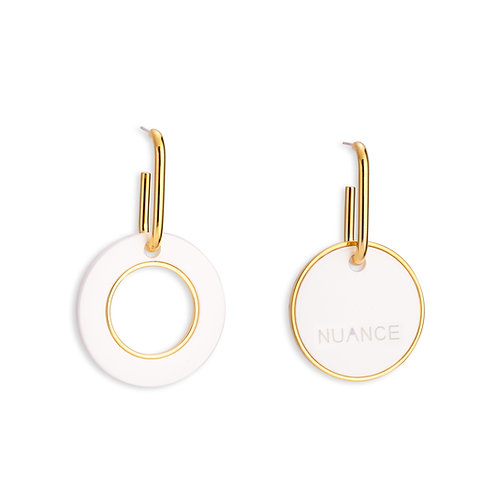 Asymmetric Cream Double Circle Earrings - MOOII