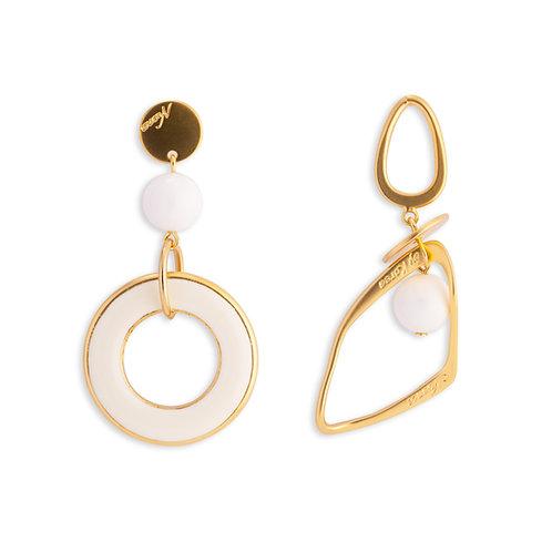 Geometric Asymmetrical Cream and Gold Earrings - MOOII