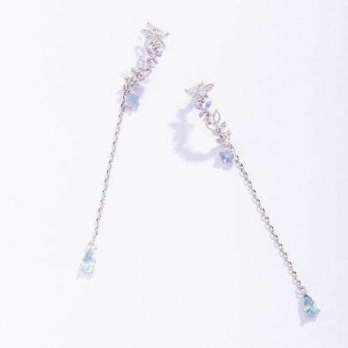 Curved Flower Tassel Earrings - MOOII